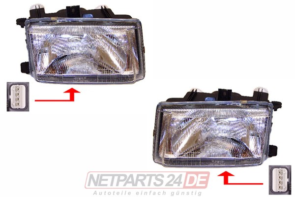 Scheinwerfer Satz H4 links & rechts VW Caddy II/2 (9K) 11/95-08/00